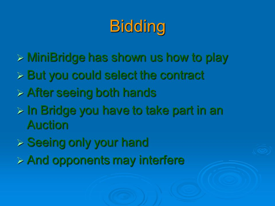 Bidding  MiniBridge has shown us how to play  But you could select the contract  After seeing both hands  In Bridge you have to take part in an Au