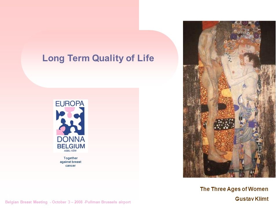 Belgian Breast Meeting - October 3 – 2008 -Pullman Brussels airport 1 Together against breast cancer Long Term Quality of Life The Three Ages of Women