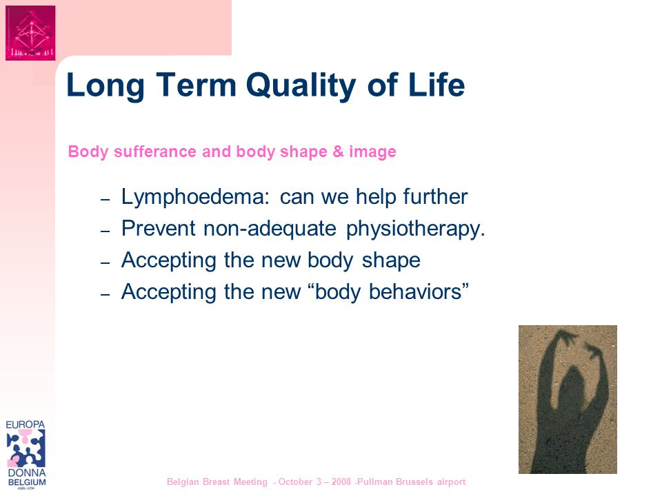 Belgian Breast Meeting - October 3 – 2008 -Pullman Brussels airport 9 Long Term Quality of Life Body sufferance and body shape & image – Lymphoedema: can we help further – Prevent non-adequate physiotherapy.