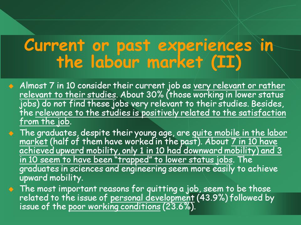 Current or past experiences in the labour market (II)  Almost 7 in 10 consider their current job as very relevant or rather relevant to their studies.