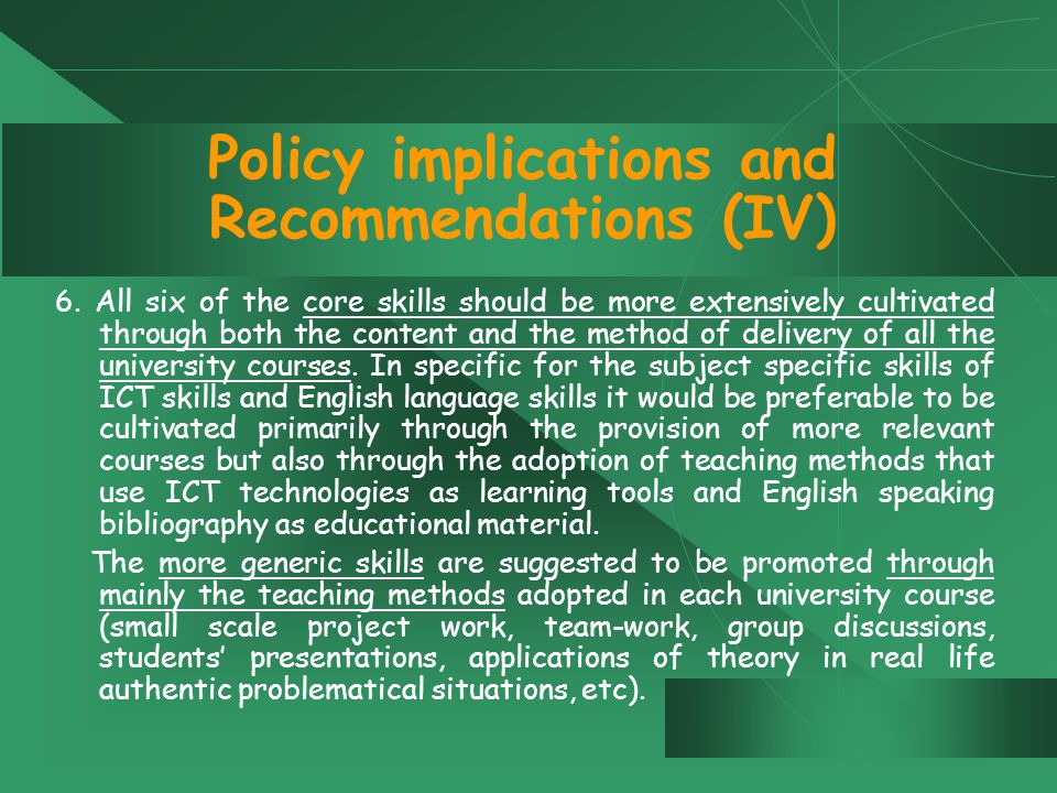 Policy implications and Recommendations (IV) 6.