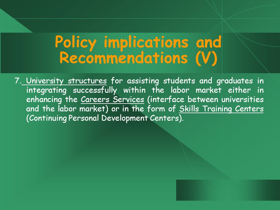 Policy implications and Recommendations (V) 7.
