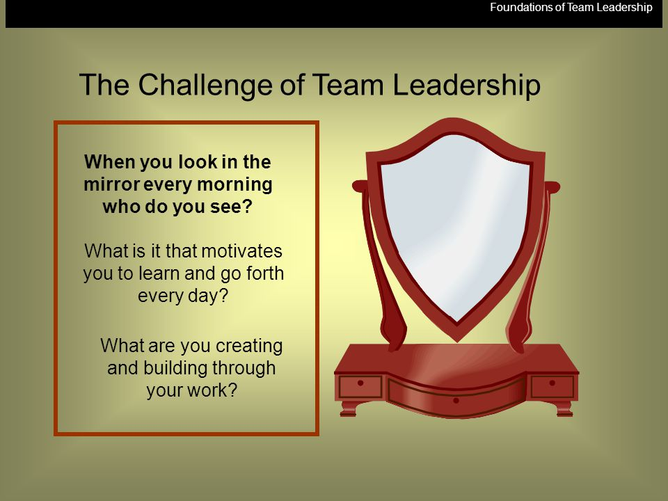 Foundations of Team Leadership When you look in the mirror every morning who do you see? What is it that motivates you to learn and go forth every day