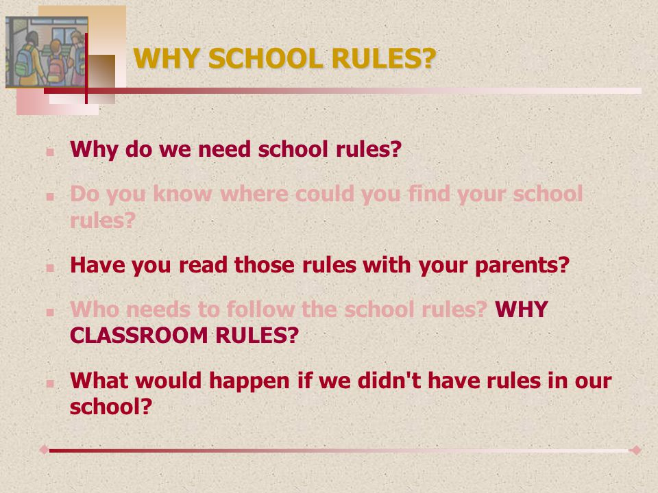 ABOUT THE SCHOOL RULES The reasons for the school rules are: 1.