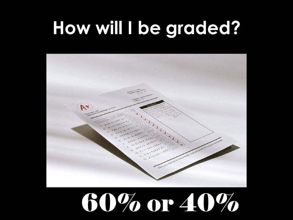 How will I be graded? 60% or 40%