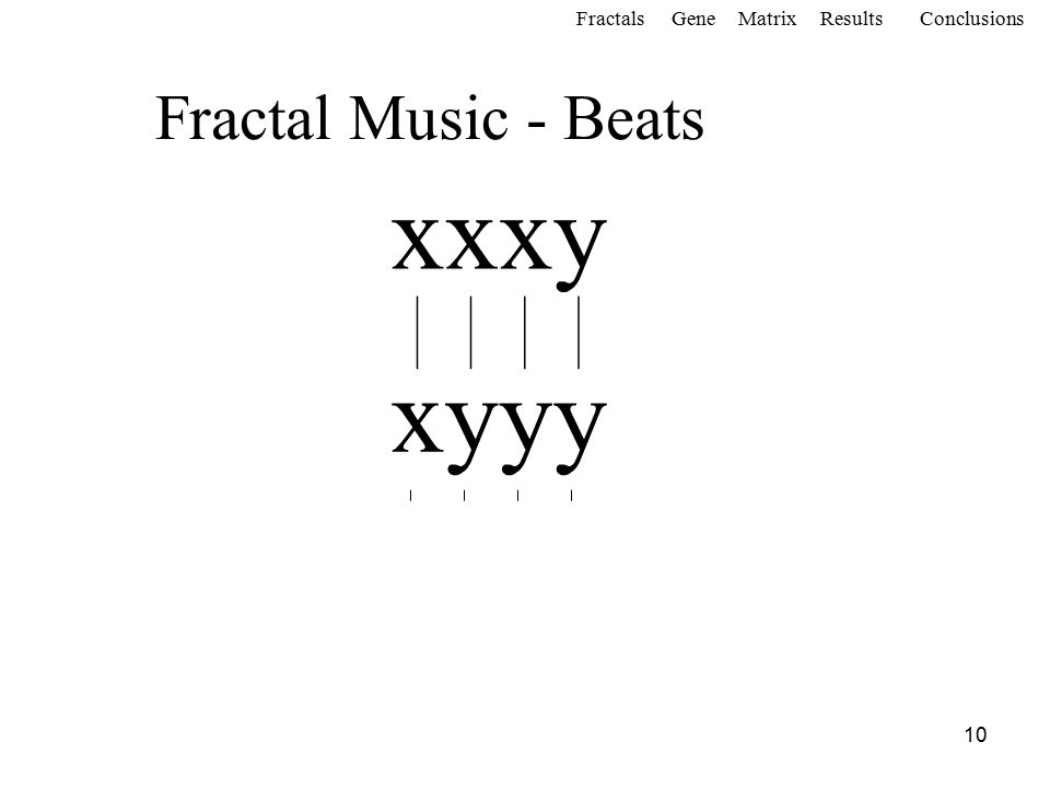 10 Fractal Music - Beats FractalsGeneMatrixConclusionsResults