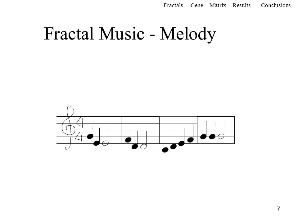 7 Fractal Music - Melody FractalsGeneMatrixConclusionsResults