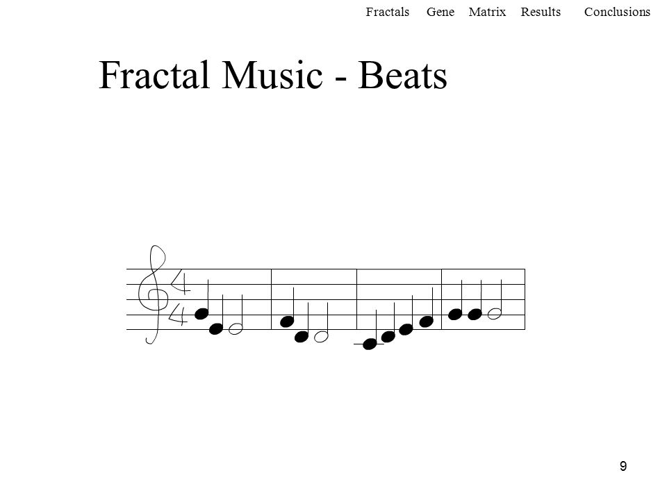 20 Screen Window of fractals and program used for the creation of digital music FractalsGeneMatrixConclusionsResults