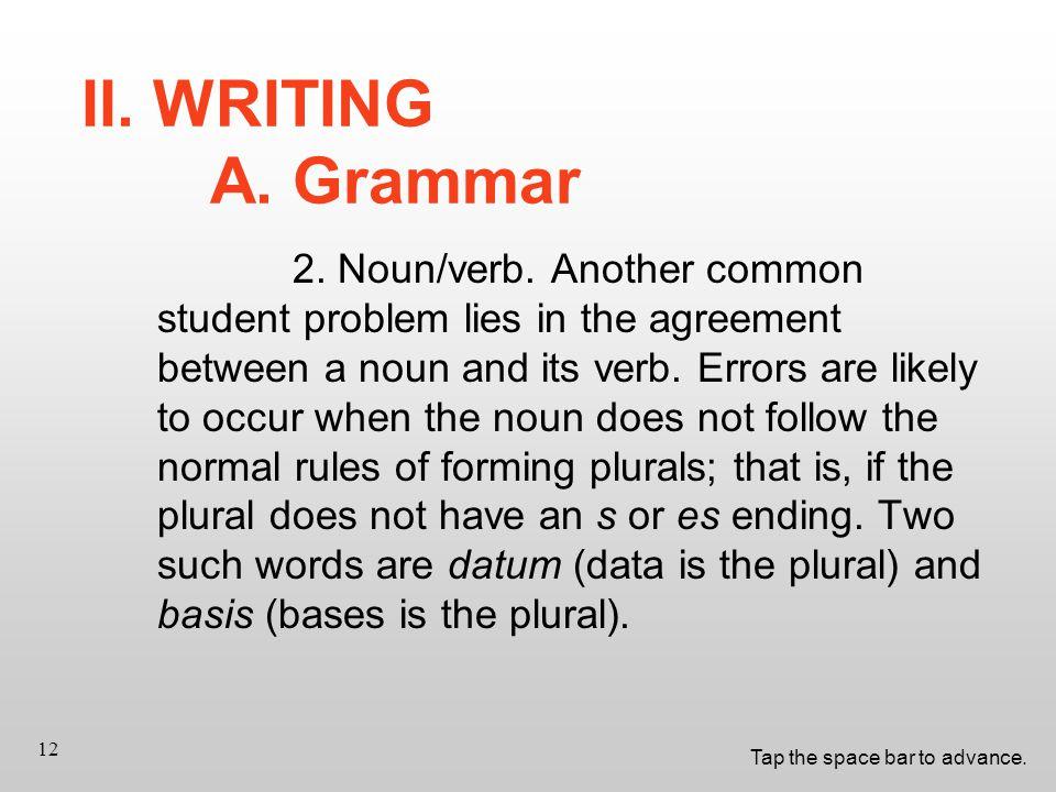 Tap the space bar to advance. 12 2. Noun/verb.