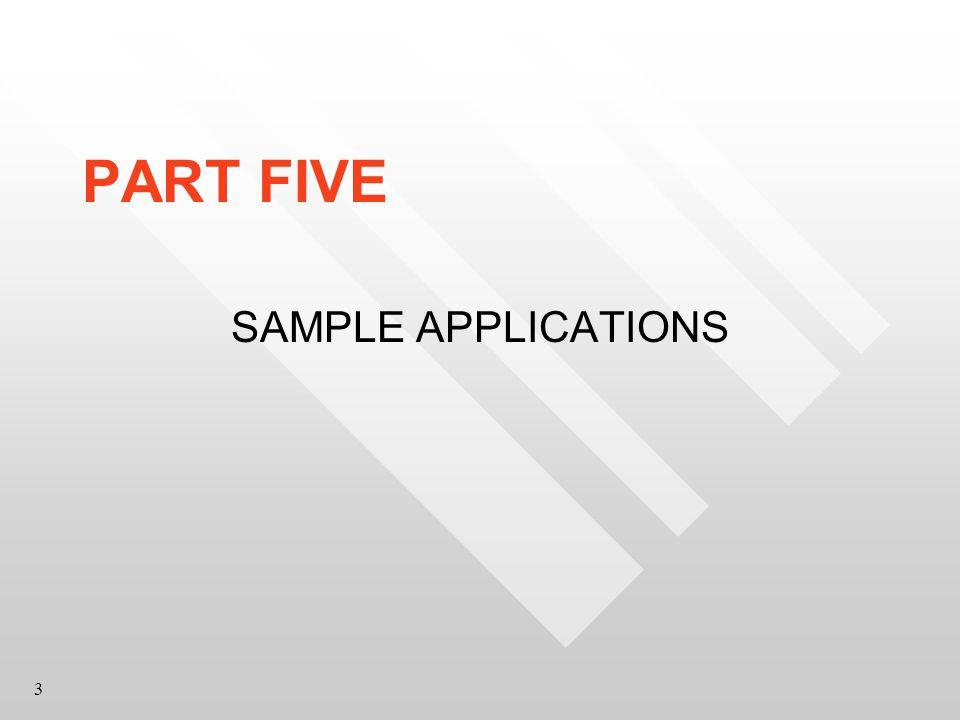 3 PART FIVE SAMPLE APPLICATIONS