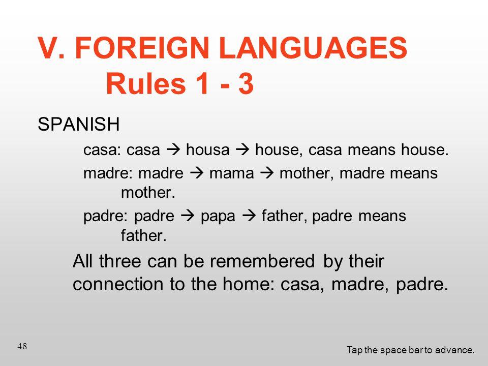 Tap the space bar to advance. 48 SPANISH casa: casa  housa  house, casa means house.