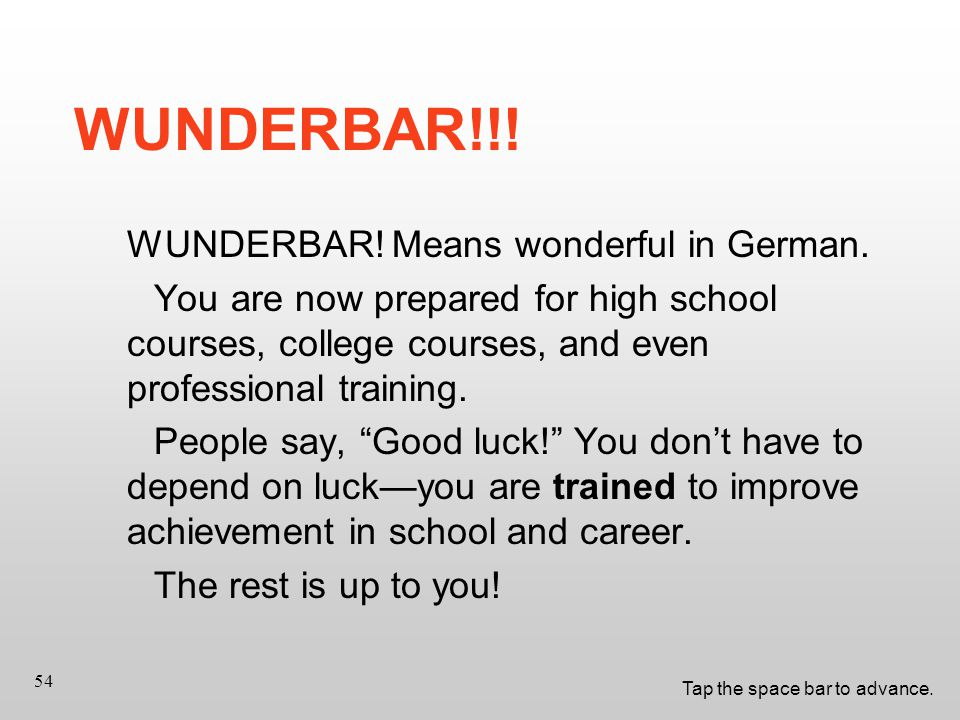Tap the space bar to advance. 54 WUNDERBAR!!. WUNDERBAR.