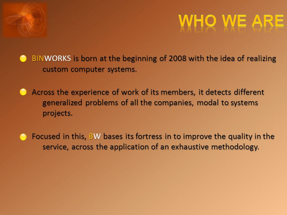 BINWORKS is born at the beginning of 2008 with the idea of realizing custom computer systems.