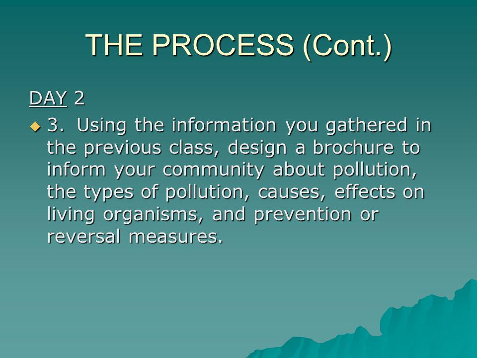 THE PROCESS (Cont.) DAY 2  3.Using the information you gathered in the previous class, design a brochure to inform your community about pollution, the types of pollution, causes, effects on living organisms, and prevention or reversal measures.