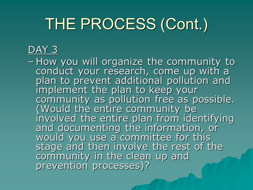THE PROCESS (Cont.) DAY 3 –How you will organize the community to conduct your research, come up with a plan to prevent additional pollution and implement the plan to keep your community as pollution free as possible.