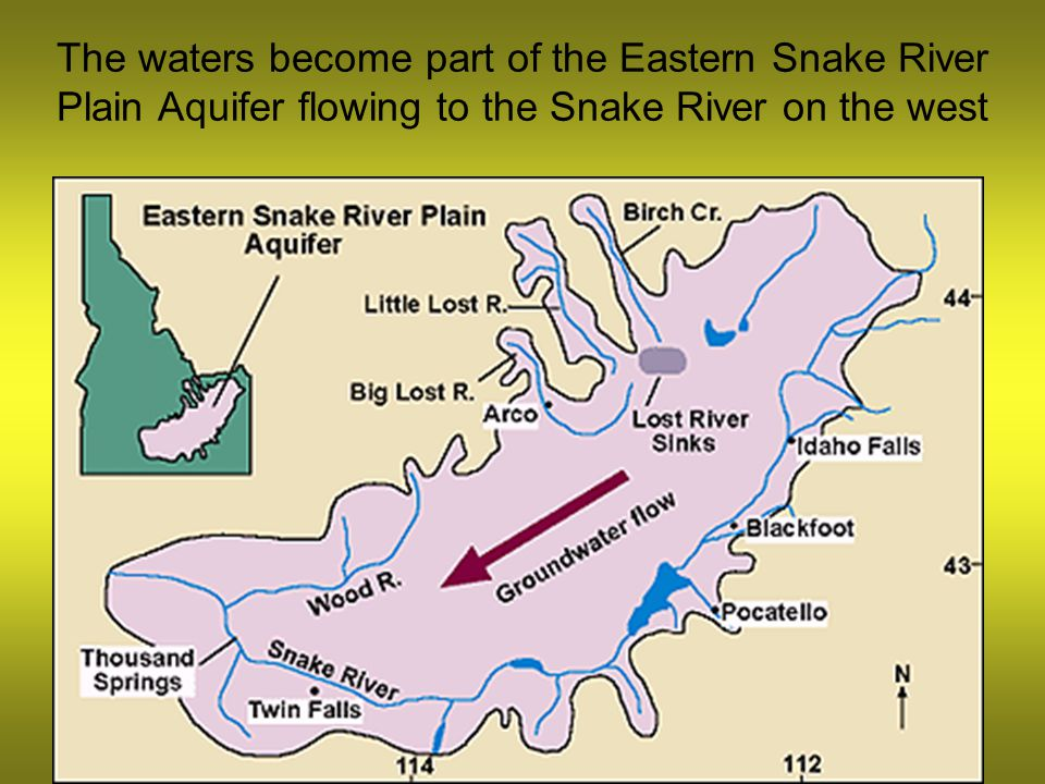 The waters become part of the Eastern Snake River Plain Aquifer flowing to the Snake River on the west