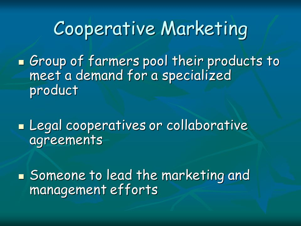 Cooperative Marketing Group of farmers pool their products to meet a demand for a specialized product Group of farmers pool their products to meet a demand for a specialized product Legal cooperatives or collaborative agreements Legal cooperatives or collaborative agreements Someone to lead the marketing and management efforts Someone to lead the marketing and management efforts
