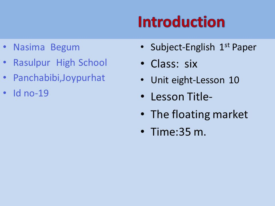 Nasima Begum Rasulpur High School Panchabibi,Joypurhat Id no-19 Subject-English 1 st Paper Class: six Unit eight-Lesson 10 Lesson Title- The floating market Time:35 m.