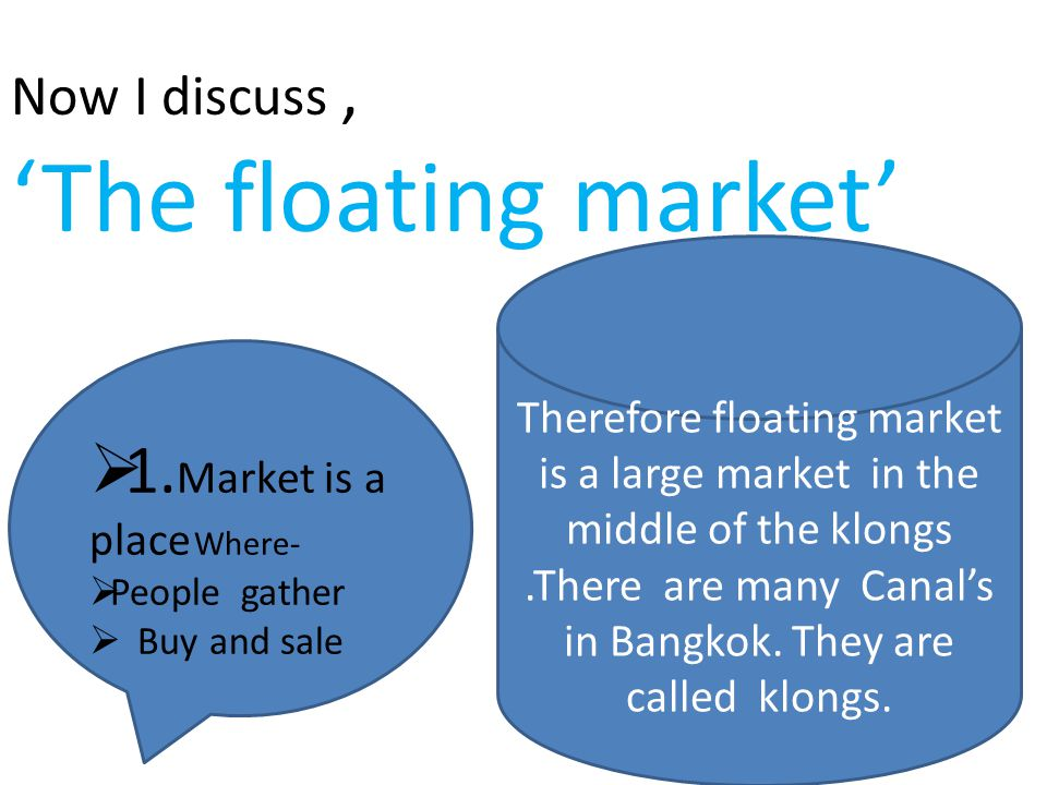 Now I discuss, 'The floating market' 11.