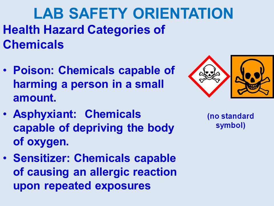 Health Hazard Categories of Chemicals Poison: Chemicals capable of harming a person in a small amount.