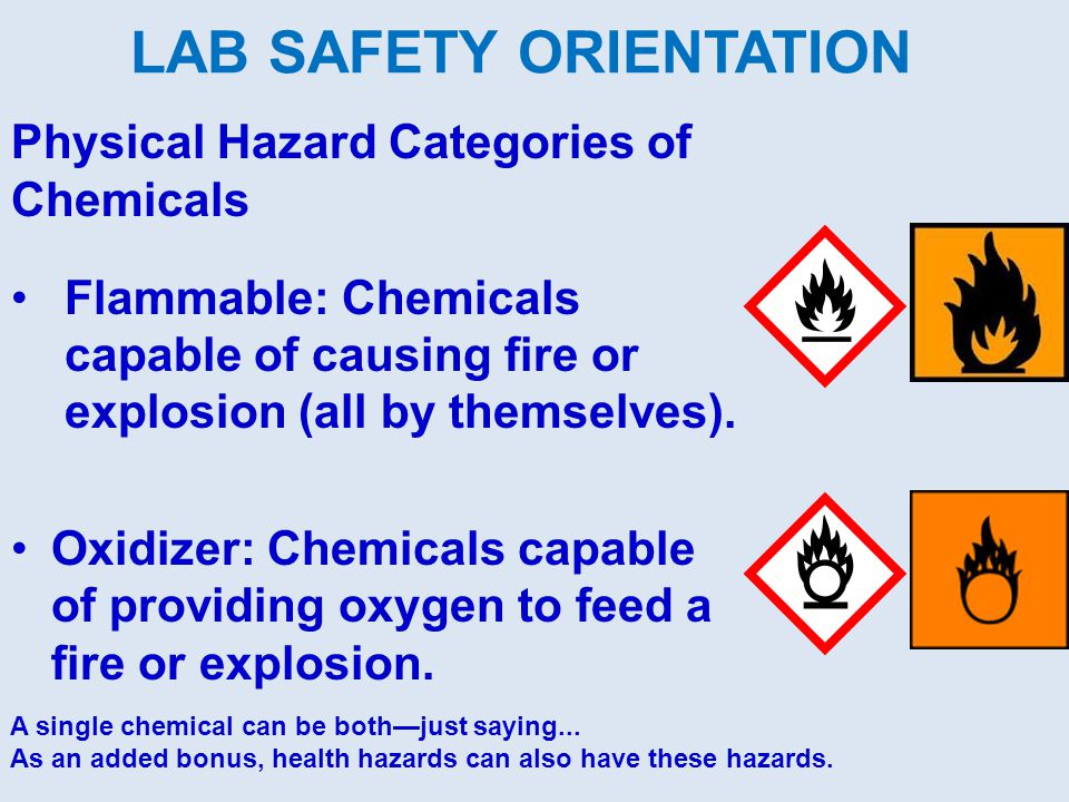Physical Hazard Categories of Chemicals Flammable: Chemicals capable of causing fire or explosion (all by themselves).