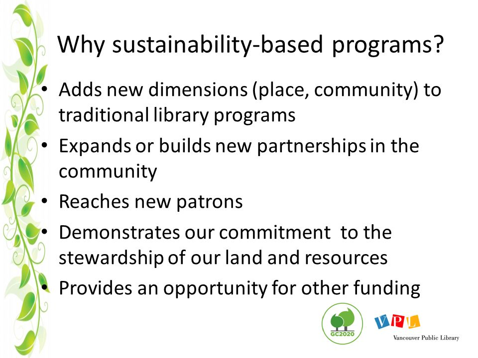 Why sustainability-based programs.