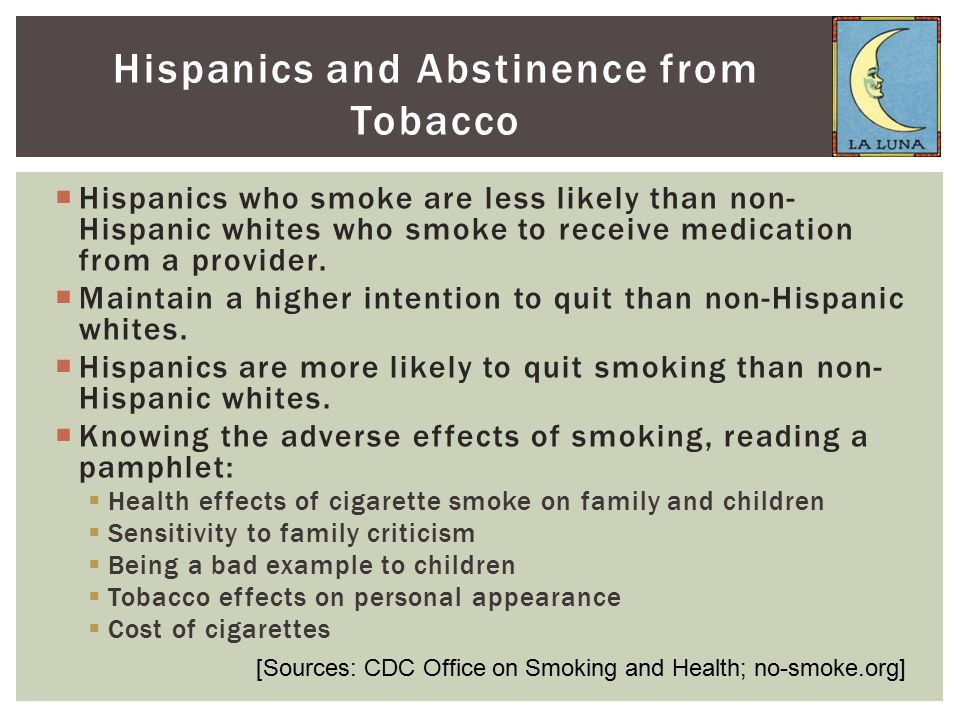  Hispanics who smoke are less likely than non- Hispanic whites who smoke to receive medication from a provider.  Maintain a higher intention to quit