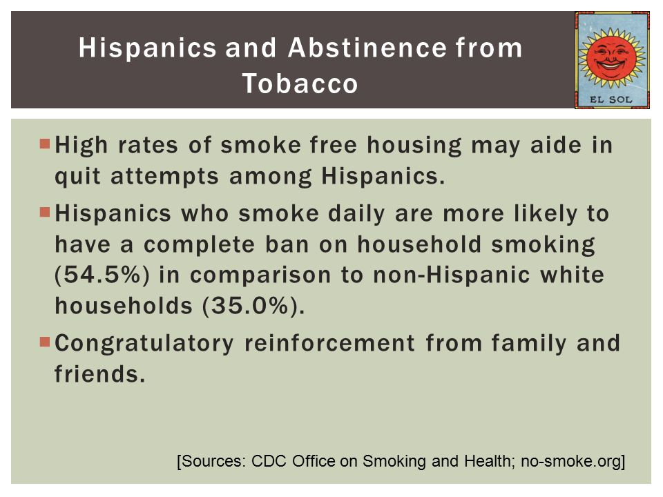  High rates of smoke free housing may aide in quit attempts among Hispanics.  Hispanics who smoke daily are more likely to have a complete ban on ho