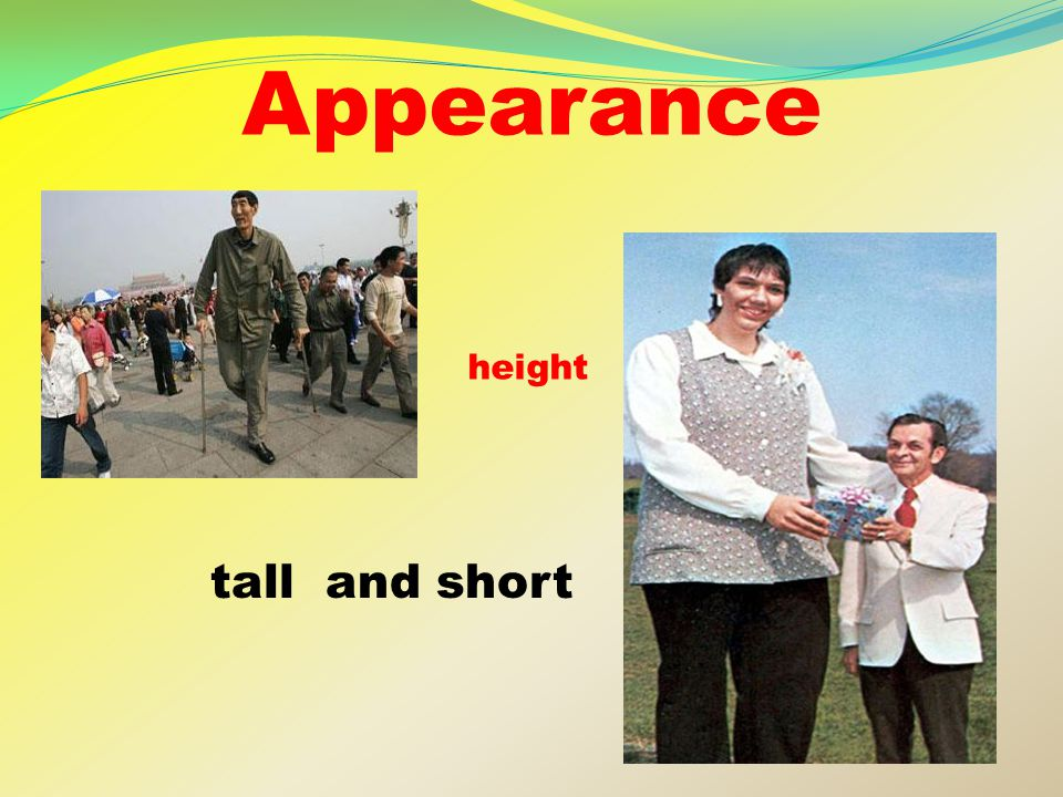 Appearance tall and short height
