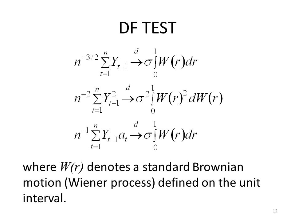 DF TEST 12 where W(r) denotes a standard Brownian motion (Wiener process) defined on the unit interval.