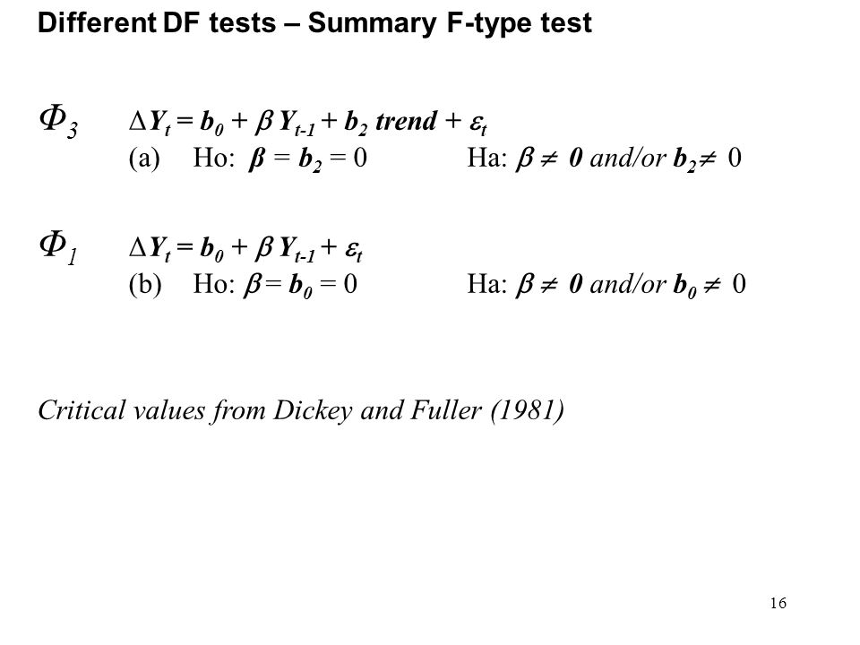 16 Different DF tests – Summary F-type test Φ 3 ΔY t = b 0 +  Y t-1 + b 2 trend +  t (a)Ho: β = b 2 = 0Ha:   0 and/or b 2  0 Φ 1 ΔY t = b 0 +  Y