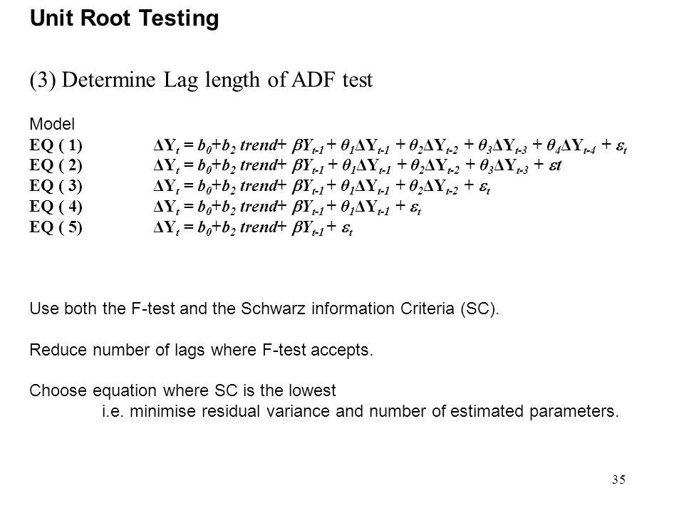 35 Unit Root Testing (3) Determine Lag length of ADF test Model EQ ( 1) ΔY t = b 0 +b 2 trend+  Y t-1 + θ 1 ΔY t-1 + θ 2 ΔY t-2 + θ 3 ΔY t-3 + θ 4 ΔY