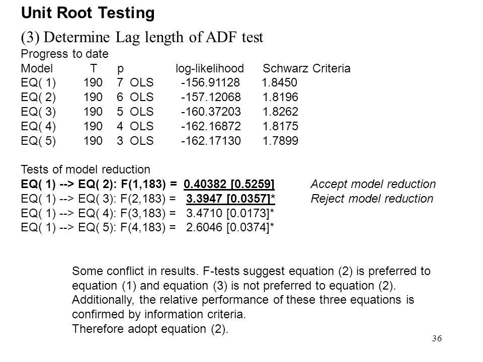 36 (3) Determine Lag length of ADF test Progress to date Model T p log-likelihood Schwarz Criteria EQ( 1) 190 7 OLS -156.91128 1.8450 EQ( 2) 190 6 OLS