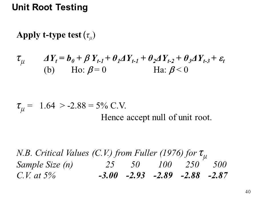 40 Unit Root Testing Apply t-type test ( τ μ ) τ μ ΔY t = b 0 +  Y t-1 + θ 1 ΔY t-1 + θ 2 ΔY t-2 + θ 3 ΔY t-3 +  t (b)Ho:  = 0Ha:  < 0 τ μ = 1.64