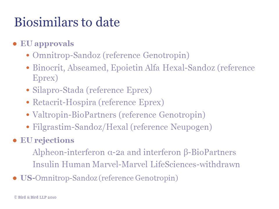 © Bird & Bird LLP 2010 Biosimilars to date ● EU approvals Omnitrop-Sandoz (reference Genotropin) Binocrit, Abseamed, Epoietin Alfa Hexal-Sandoz (reference Eprex) Silapro-Stada (reference Eprex) Retacrit-Hospira (reference Eprex) Valtropin-BioPartners (reference Genotropin) Filgrastim-Sandoz/Hexal (reference Neupogen) ● EU rejections Alpheon-interferon α-2a and interferon β-BioPartners Insulin Human Marvel-Marvel LifeSciences-withdrawn ● US-Omnitrop-Sandoz (reference Genotropin)
