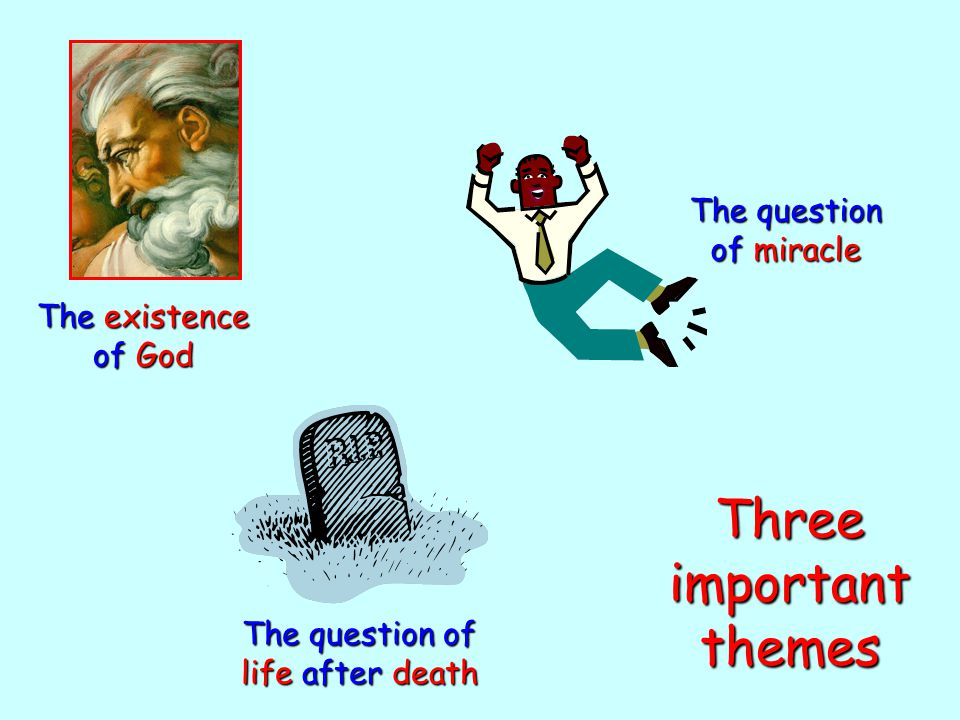 The existence of God The question of miracle The question of life after death Three important themes