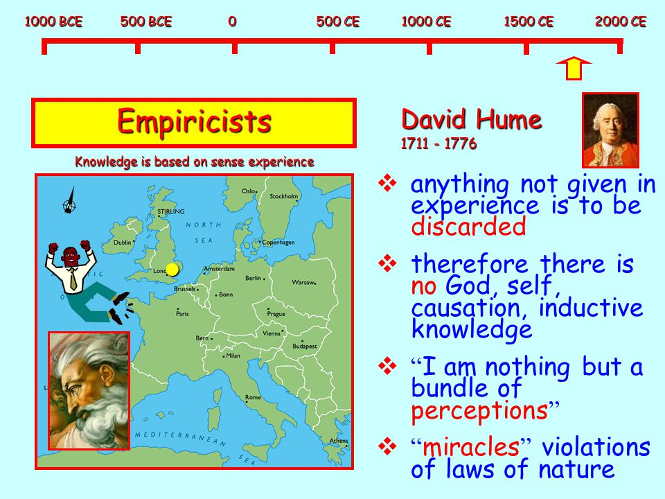 1000 BCE 500 BCE 0 500 CE 1000 CE 1500 CE 2000 CE Empiricists David Hume 1711 - 1776  anything not given in experience is to be discarded  therefore