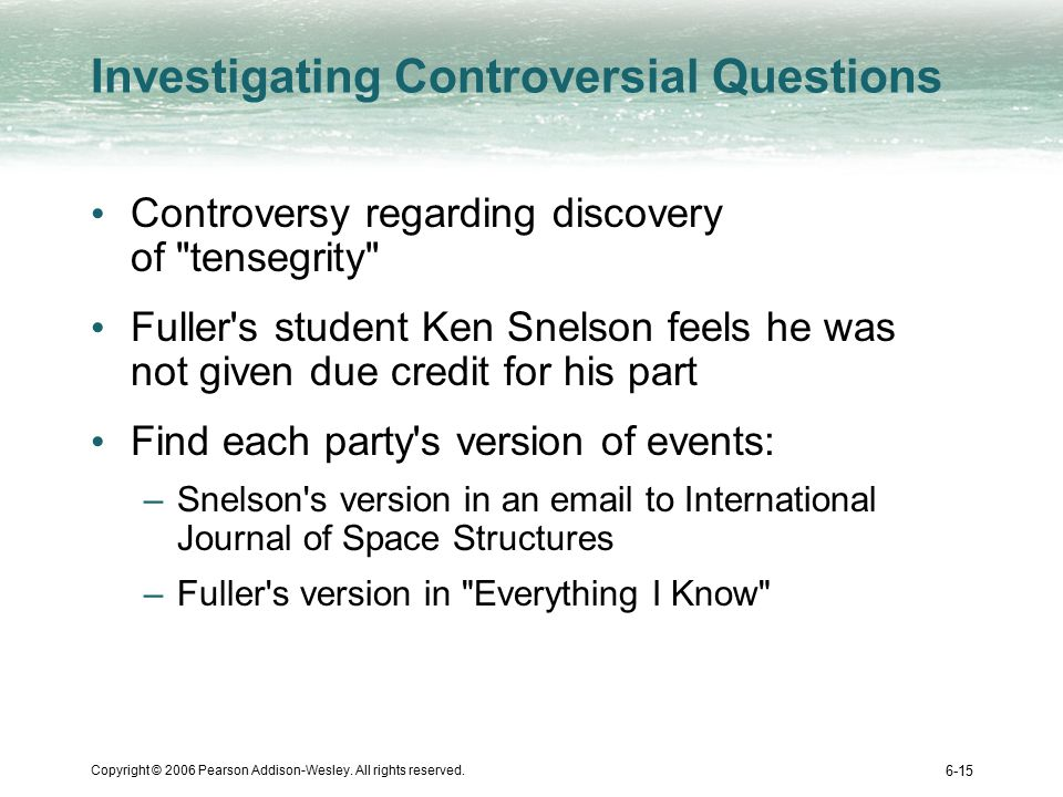 Copyright © 2006 Pearson Addison-Wesley. All rights reserved. 6-15 Investigating Controversial Questions Controversy regarding discovery of
