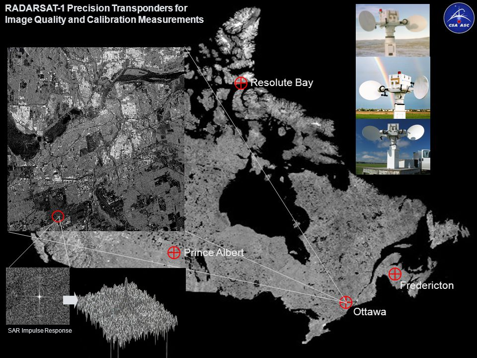 Agence spatialeCanadian Space CanadienneAgency CEOS Working Group on Calibration & Validation (WGCV) 27th Meeting, NPL, UK Page 23 RADARSAT-1 Precision Transponders for Image Quality and Calibration Measurements Resolute Bay Ottawa Fredericton Prince Albert SAR Impulse Response