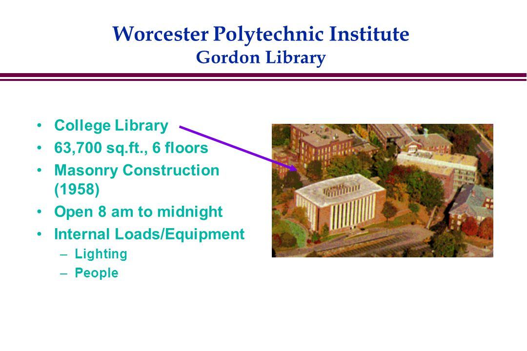 Worcester Polytechnic Institute Gordon Library College Library 63,700 sq.ft., 6 floors Masonry Construction (1958) Open 8 am to midnight Internal Loads/Equipment –Lighting –People