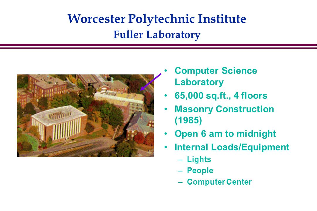 Worcester Polytechnic Institute Fuller Laboratory Computer Science Laboratory 65,000 sq.ft., 4 floors Masonry Construction (1985) Open 6 am to midnight Internal Loads/Equipment –Lights –People –Computer Center