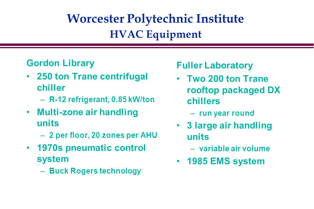 Worcester Polytechnic Institute HVAC Equipment Gordon Library 250 ton Trane centrifugal chiller –R-12 refrigerant, 0.85 kW/ton Multi-zone air handling units –2 per floor, 20 zones per AHU 1970s pneumatic control system –Buck Rogers technology Fuller Laboratory Two 200 ton Trane rooftop packaged DX chillers –run year round 3 large air handling units –variable air volume 1985 EMS system