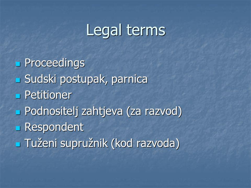 Legal terms Proceedings Proceedings Sudski postupak, parnica Sudski postupak, parnica Petitioner Petitioner Podnositelj zahtjeva (za razvod) Podnosite
