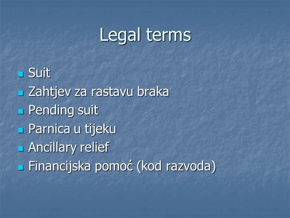 Legal terms Suit Suit Zahtjev za rastavu braka Zahtjev za rastavu braka Pending suit Pending suit Parnica u tijeku Parnica u tijeku Ancillary relief A