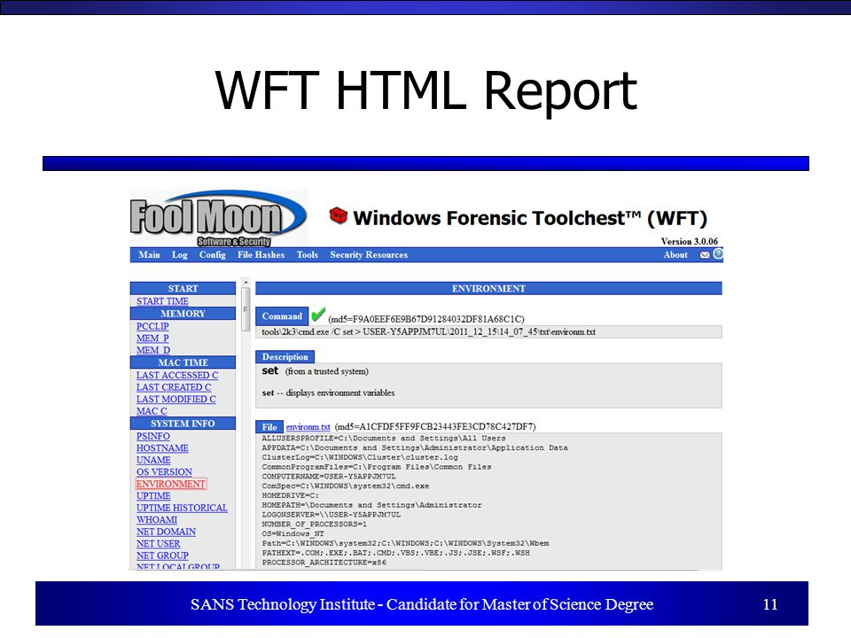 SANS Technology Institute - Candidate for Master of Science Degree 11 WFT HTML Report