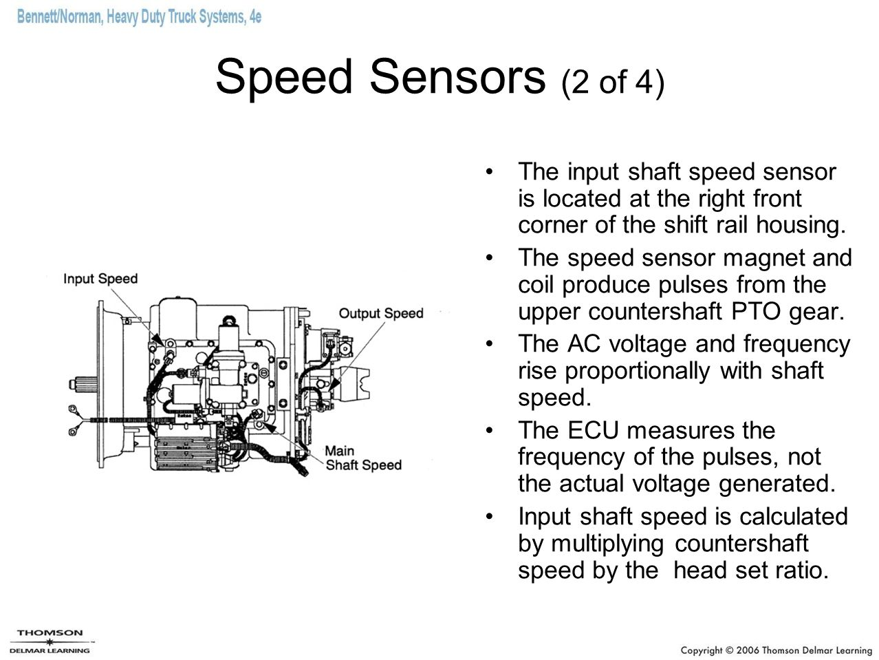 Speed Sensors (2 of 4) The input shaft speed sensor is located at the right front corner of the shift rail housing. The speed sensor magnet and coil p