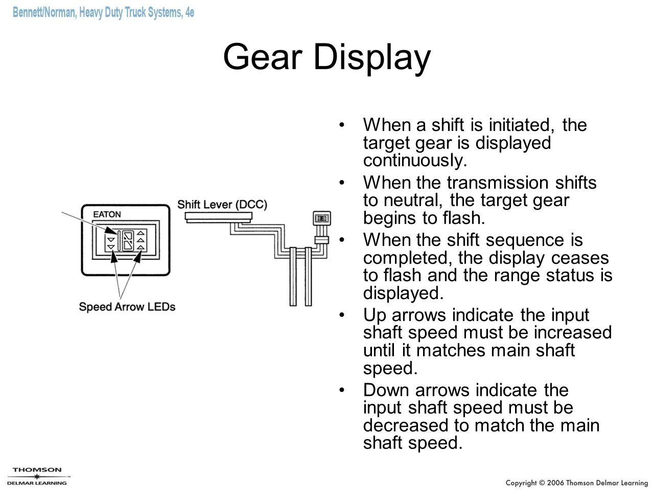 Gear Display When a shift is initiated, the target gear is displayed continuously. When the transmission shifts to neutral, the target gear begins to