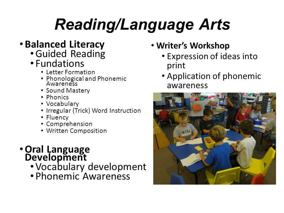 Reading/Language Arts Balanced Literacy Guided Reading Fundations Letter Formation Phonological and Phonemic Awareness Sound Mastery Phonics Vocabular