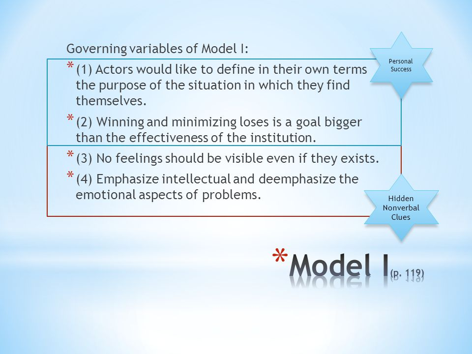 Governing variables of Model I: * (1) Actors would like to define in their own terms the purpose of the situation in which they find themselves.