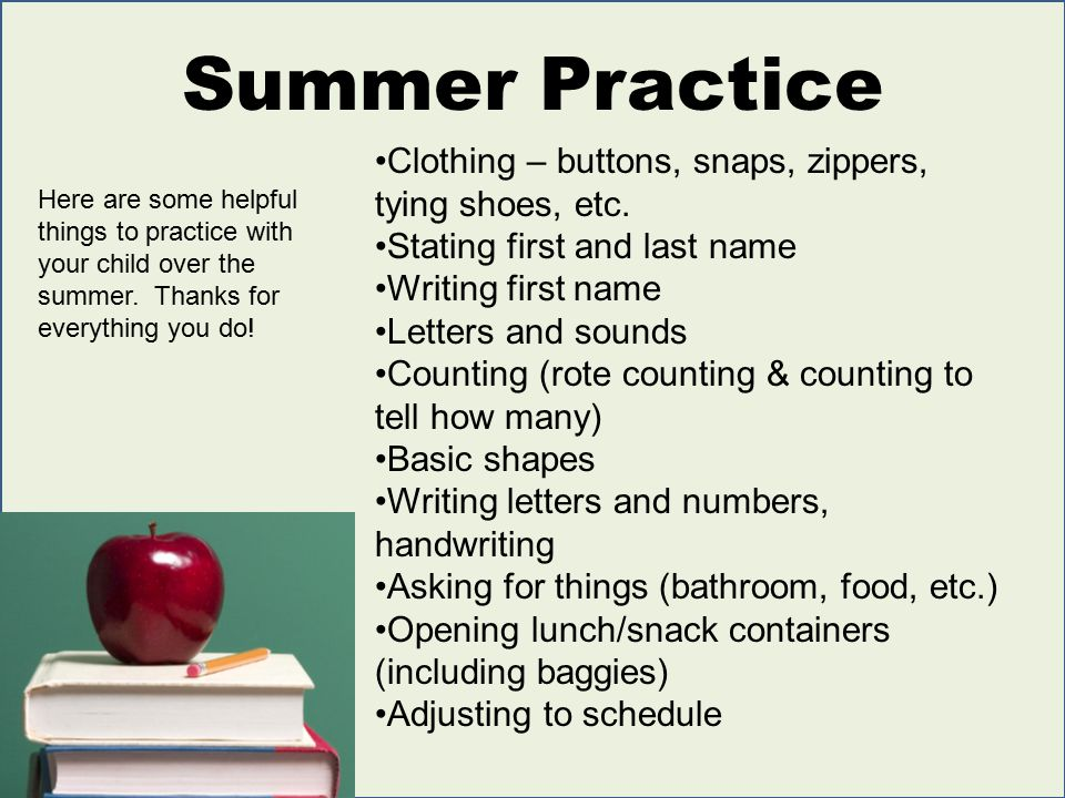 Summer Practice Clothing – buttons, snaps, zippers, tying shoes, etc.